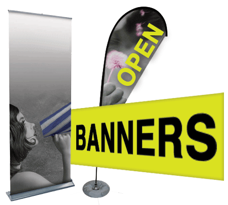 Banners Pup ups and feathers